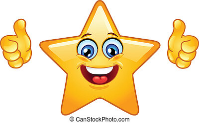 Thumbs up star - Smiling star showing thumbs up