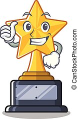 Thumbs up star trophy with the character shape