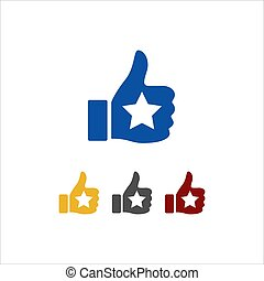 thumbs up star vector sign logo. symbol of good rating evaluation success and quality