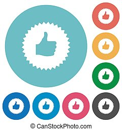 Thumbs up sticker flat round icons