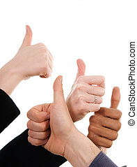 Thumbs Up! - business people with their thumbs up in support