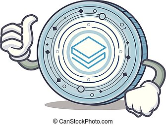 Thumbs up Stratic coin character cartoon