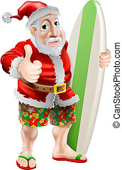 Thumbs up surfing Santa Claus - An illustration of Santa in...