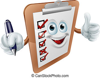 A clip board mascot or survey person holding a pen and doing a thumbs up gesture