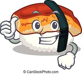 Thumbs up sushi unagi isolated in the cartoon
