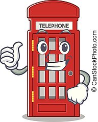 Thumbs up telephone booth on the roadside character