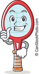 Thumbs up tennis racket character cartoon