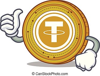 Thumbs up Tether coin character cartoon