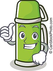 Thumbs up thermos character cartoon style