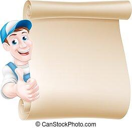 Thumbs up tradesman scroll - Cartoon mechanic, plumber,...
