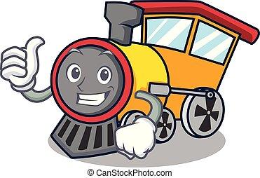 Thumbs up train character cartoon style