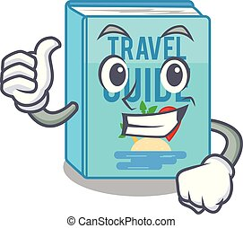 Thumbs up travel guide book isolated in cartoon