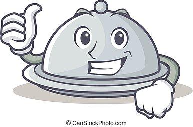 Thumbs up tray character cartoon style
