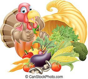 Thanksgiving golden horn of plenty cornucopia full of vegetables and fruit produce with cartoon turkey bird