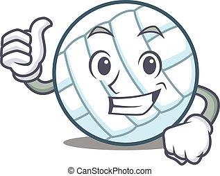 Thumbs up volley ball character cartoon