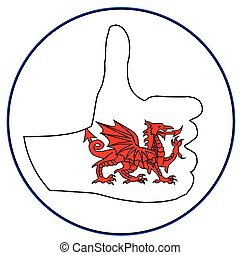 Thumbs Up Wales - A Welsh hand giving the thumbs up sign all...