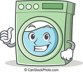 Thumbs up washing machine character cartoon