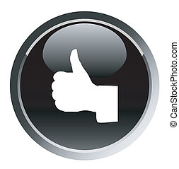 thumbs up web black button