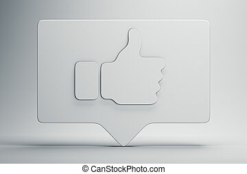 Thumbs up white symbol or icon. 3d rendering. Social media concept.