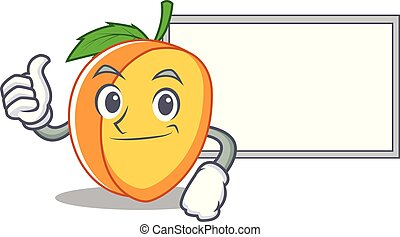 Thumbs up with board apricot character cartoon style