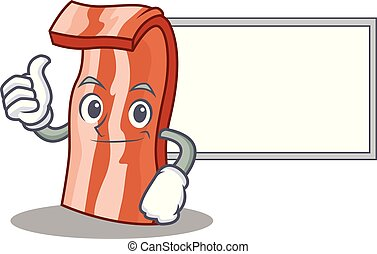 Thumbs up with board bacon character cartoon style