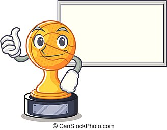 Thumbs up with board basketball trophy isolated in the mascot