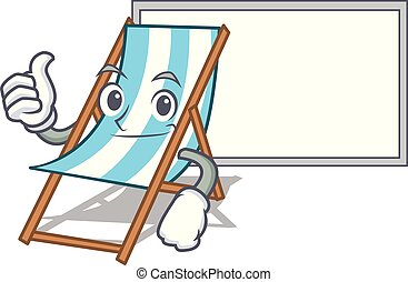 Thumbs up with board beach chair character cartoon