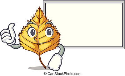 Thumbs up with board birch leaf in the mascot shape vector...