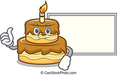 Thumbs up with board birthday cake character cartoon