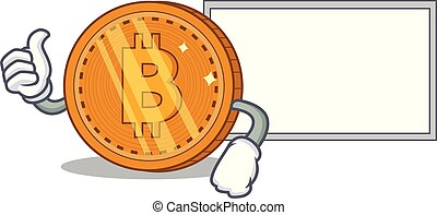 Thumbs up with board bitcoin coin character cartoon