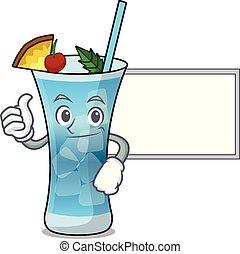 Thumbs up with board blue hawaii character cartoon