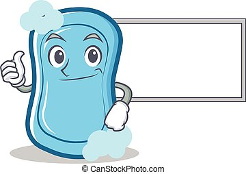 Thumbs up with board blue soap character cartoon
