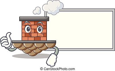 Thumbs up with board brick chimney in the shape mascot