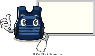 Thumbs up with board bulletprof vest isolated in the mascot