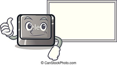 Thumbs up with board button delete isolated with the character vector illustration