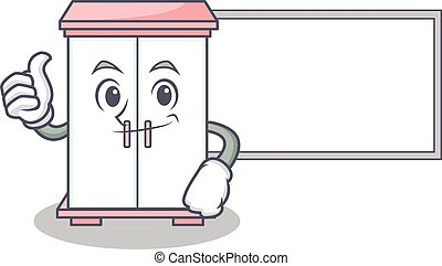 Thumbs up with board cabinet character cartoon style