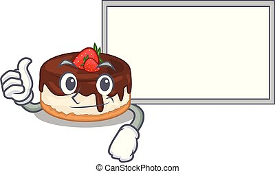 Thumbs up with board cartoon cake delicious that a berries