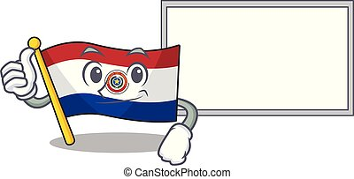 Thumbs up with board cartoon flag paraguay in with mascot