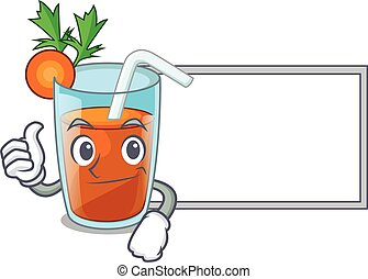 Thumbs up with board character healthy carrot smoothie for diet