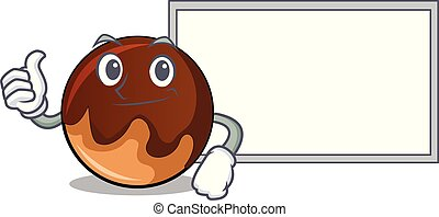 Thumbs up with board chocolate donut character cartoon
