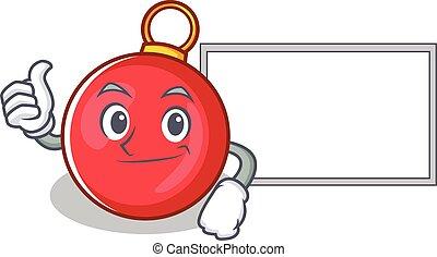Thumbs up with board Christmas ball character cartoon