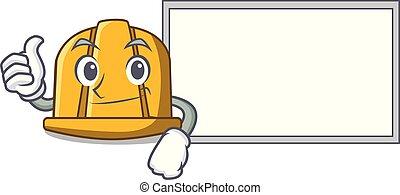 Thumbs up with board construction helmet character cartoon