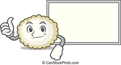 Thumbs up with board cotton ball character cartoon