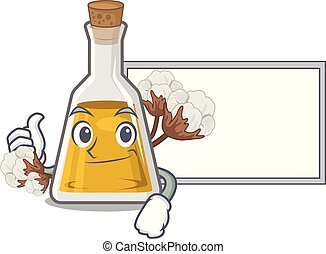 Thumbs up with board cottonseed oil in a mascot bottle ...