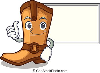 Thumbs up with board cowboy boots in the shape cartoon