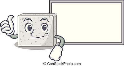 Thumbs up with board feta cheese character cartoon