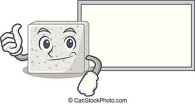 Thumbs up with board feta cheese character cartoon