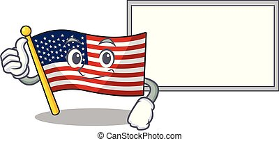 Thumbs up with board flag america isolated in the cartoon