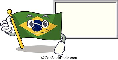 Thumbs up with board flag brazil in the cartoon shape