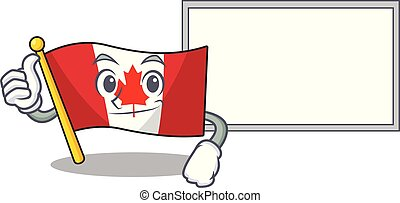 Thumbs up with board flag canada isolated in the cartoon